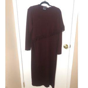 Lennie for Nina Leonard Maroon Fringe Dress